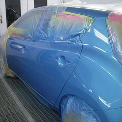 ニッサンのリーフ :傷の修理方法と費用 左クオータパネル板金塗装 作業工賃 70,000円