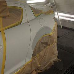 マツダRX8 ABA-SE3P 左クオータパネル板金・左クオータパネル塗装 工賃73,500円