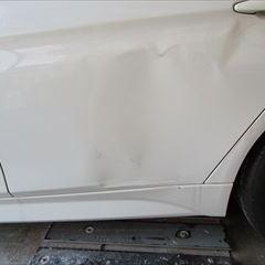 ニッサンのGTR CBA-R35  :傷の修理方法と費用 左クオータパネル板金、塗装、他 総工賃90,000円/ストンガード部品代3,640円