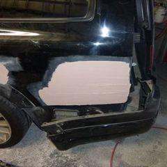 日産のステージア GH-M35 :傷の修理方法と費用  左クォーター・パネル板金塗装、リアバンパー修理費用 総工賃150,000円総工賃150,000円