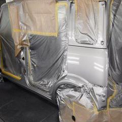 ニッサンキューブ5DBGZ11SX 左リアドア交換、左フロントドア板金、塗装、他 総工賃203,200円/左リアドア、他クォーターパネル交換など 部品代計157,290円