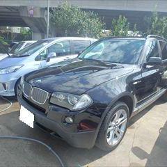 BMWのX3(ABA-PC30):バッテリーリテーナー、エンブレム、フェンダーアーチモール他の交換 部品代金33,060円/リアバンパー修理費用、左フロントフェンダ板金塗装 作業工賃140,000円/合計金額(税込)186,904円