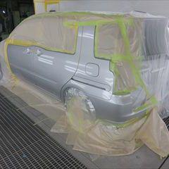 トヨタのラウム(CBA-NCZ20):ドアモール交換 部品代金11,400円/左フロントドア、左スライドドア、クォーターパネル板金、塗装 作業工賃182,000円/合計金額(税込)208,872円