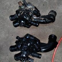 プジョーの308(ABA-T7W5FT):リアブレーキパッド、リアブレーキローター、サーモスタット他の交換、冷却水漏れ修理費用、ブレーキ異音修理費用、他 部品代84,100円/技術料37,000円(税別)