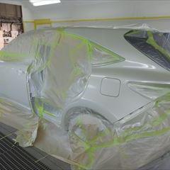 トヨタのハリアー(DBA-ZSU60W):左リアドア、リアバンパー他の交換、左クォーターパネル板金塗装、他