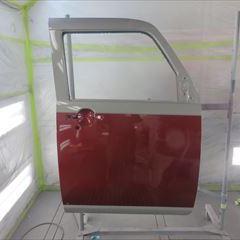 ダイハツのムーブキャンバス(DBA-LA800S):右フロントフェンダー、フロントピラー、フロントドア、フロントガラス交換、フロントバンパー脱着、右ヘッドライト脱着修理、他