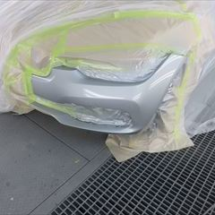 BMWの3シリーズツーリングワゴン(ABA-VR20):左フロントフェンダー、左リアドア、左クォーターパネル他の修理塗装、左フロントドア、左ミラーカバー他の交換、フロントバンパー他の脱着