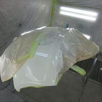 フィアットの500(ABA-31212):フロントバンパー脱着修理塗装、左クォーターパネル板金塗装 作業工賃140,000円/合計金額(税込)151,200円