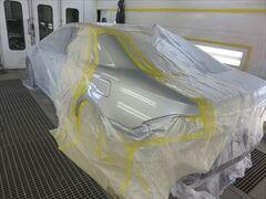 トヨタのクラウン(DBA-GRS202):傷の修理方法と費用 左クォーターパネル脱着・板金 作業工賃30,500円/塗装費119,789円